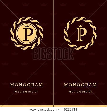 Monogram Design Elements, Graceful Template. Letter Emblem Sign P. Calligraphic Elegant Line Art Log