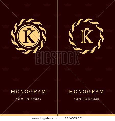 Monogram Design Elements, Graceful Template. Letter Emblem Sign K. Calligraphic Elegant Line Art Log