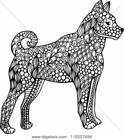 Hand drawn vector doodle ornate huski dog illustration