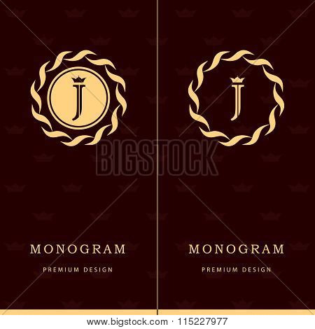 Monogram Design Elements, Graceful Template. Letter Emblem Sign J. Calligraphic Elegant Line Art Log