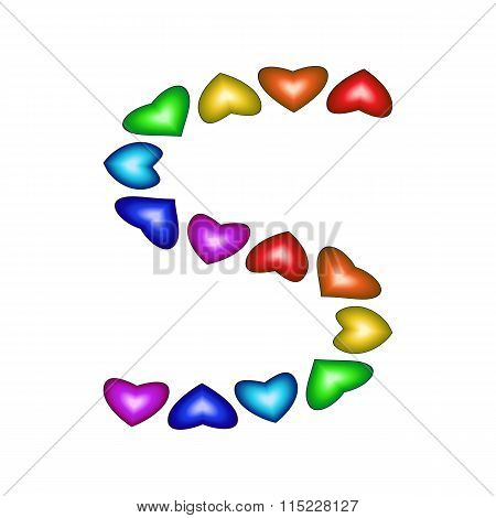 Letter S Made Of Multicolored Hearts