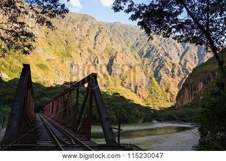 Iron Bridge On The Railway Track To Machu Picchu, Peru