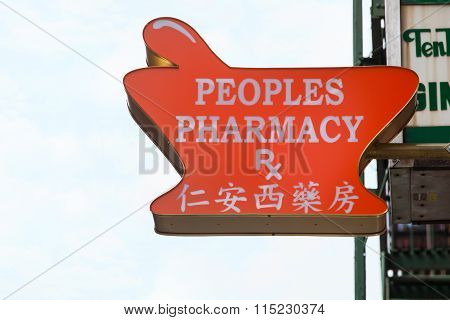 Signboard Of A Chinese Pharmacy In Chinatown In Manhattan, Nyc.