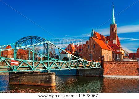 Tumski Bridge in the morning, Wroclaw, Poland