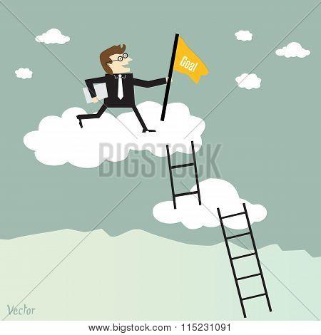 Businessman Climbing The Ladder To Success