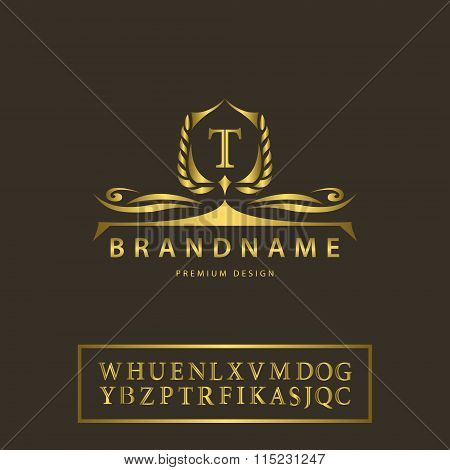 Luxury Vintage Logo. Business Sign, Label, Letter Emblem T For Badge, Crest, Restaurant, Royalty, Bo