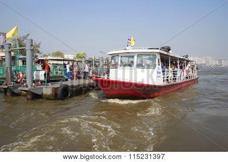 Water bus on the river Chao Phraya. Bangkok