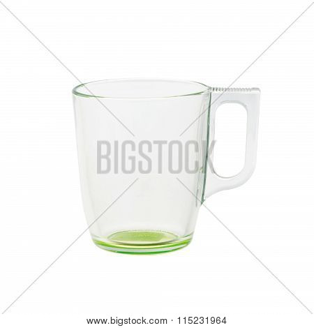 empty glass teacup isolated on white