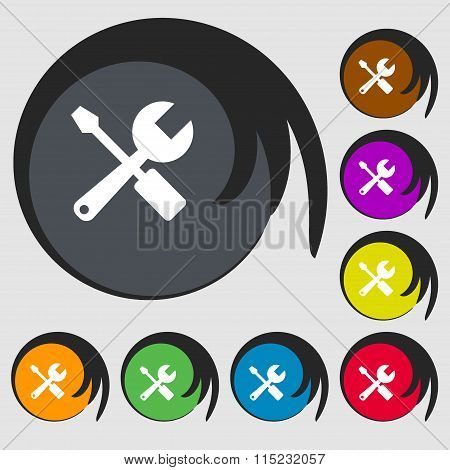 Wrench And Screwdriver Icon. Symbols On Eight Colored Buttons.