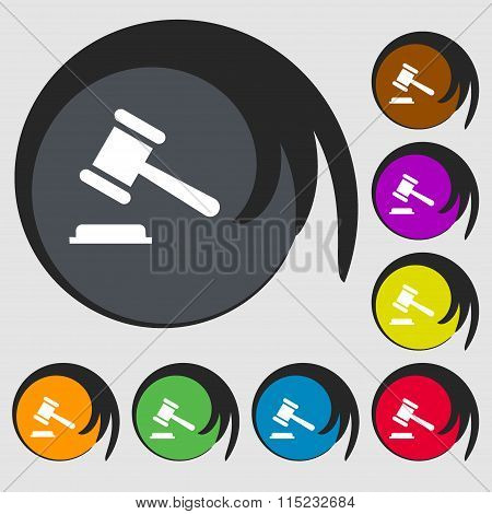 Judge Or Auction Hammer Icon. Symbols On Eight Colored Buttons.