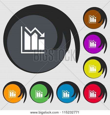 Histogram Icon. Symbols On Eight Colored Buttons.