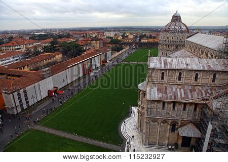 The Pisa Cathedral As Seen From The Top Of The Leaning Tower Of Pisa, Italy