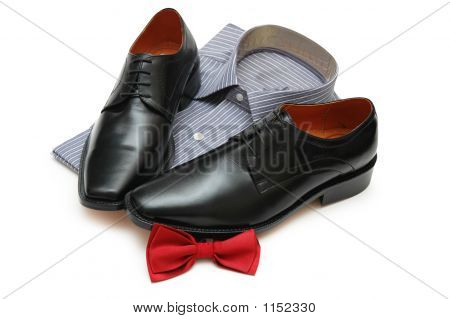 Pair Of Black Shoes, New Shirt And Bow-Tie Isolated On White