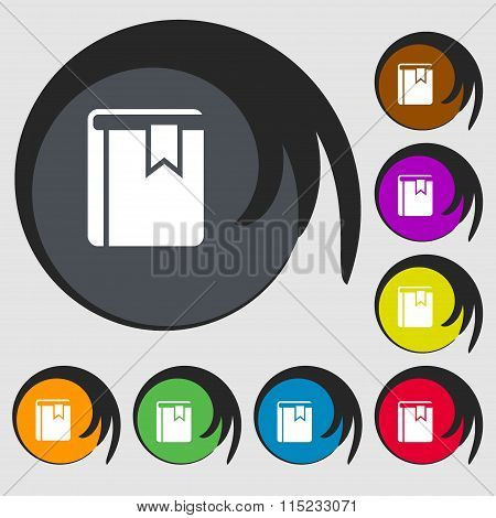 Book Bookmark Icon. Symbols On Eight Colored Buttons.