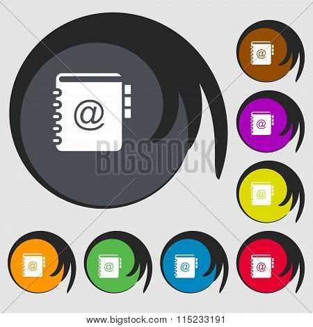 Notebook, Address, Phone Book Icon. Symbols On Eight Colored Buttons.