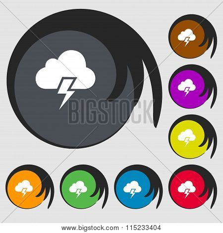 Heavy Thunderstorm Icon. Symbols On Eight Colored Buttons.