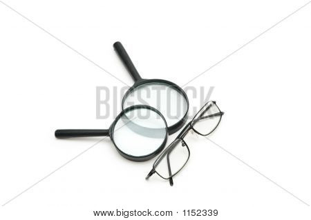 Stock photo : Magnifying Glasses And Reading Glasses Isolated On White