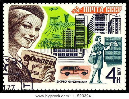 Vintage  Postage Stamp. Mail  Delivery.