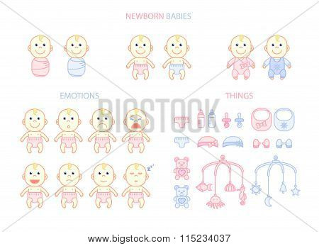 Newborn Babies Set, Emotions And Things, Flat