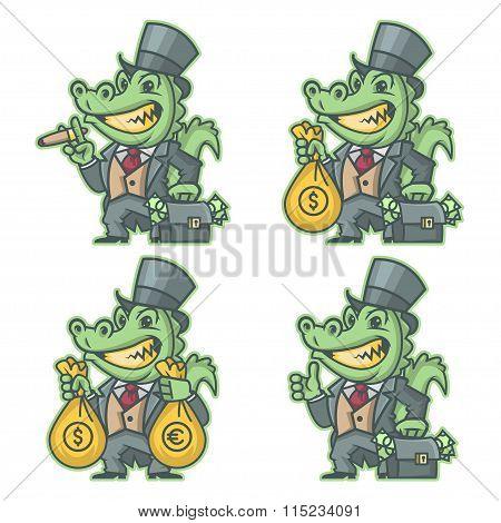 Crocodile millionaire banker doodle