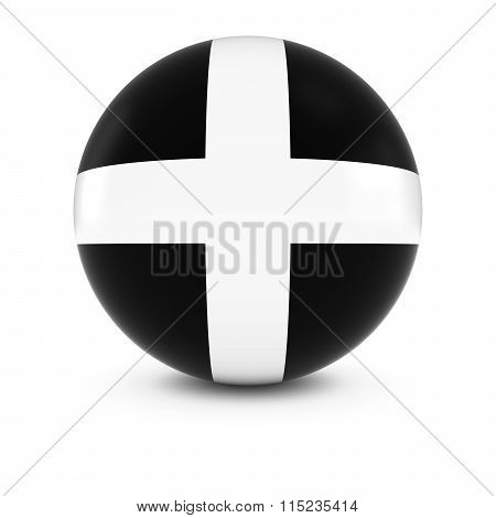 Cornish Flag Ball - Flag Of Cornwall On Isolated Sphere