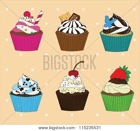 Set of cupcakes on vintage background 2