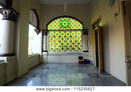 Interior of the Muhammadi Mosque or The Kelantan State Mosque in Kelantan