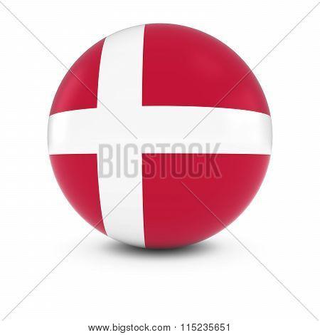 Danish Flag Ball - Flag Of Denmark On Isolated Sphere