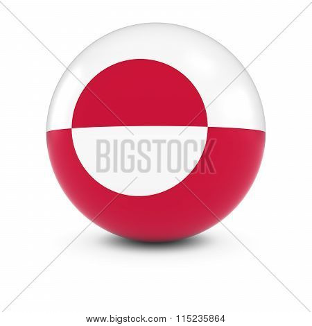 Greenlandic Flag Ball - Flag Of Greenland On Isolated Sphere