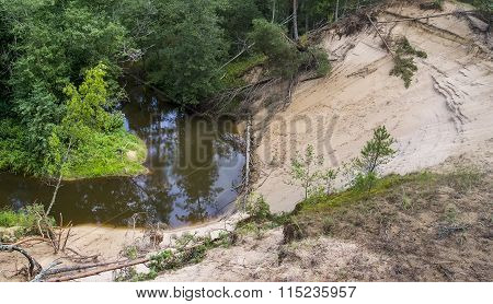 Landslide On The Bank Of The River In The Forest
