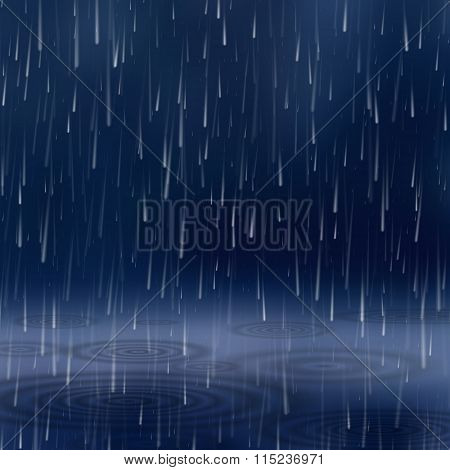 Background With Rain. Vector Illustration