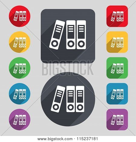 Binders  Icon Sign. A Set Of 12 Colored Buttons And A Long Shadow.