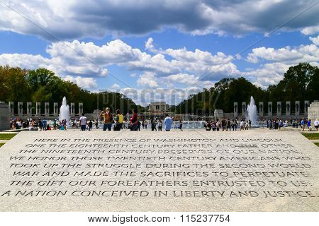 Engraving At The National World War Ii Memorial