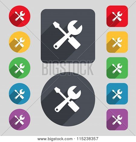 Wrench And Screwdriver Icon Sign. A Set Of 12 Colored Buttons And A Long Shadow. Flat Design.
