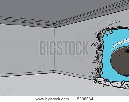 Wrecking Ball And Hole In Room