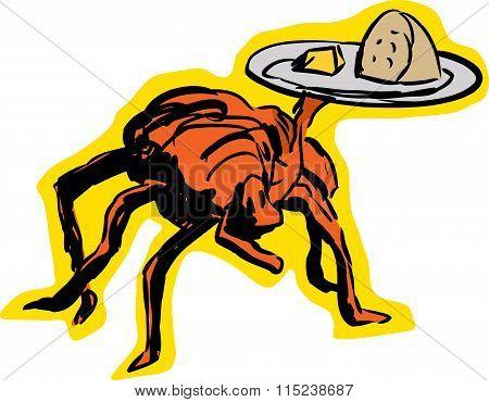 Spider Waiter Serving Food