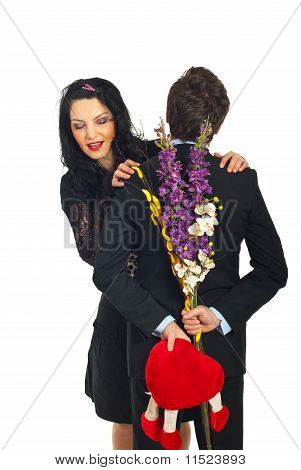 Curious Woman About Valentine Gift