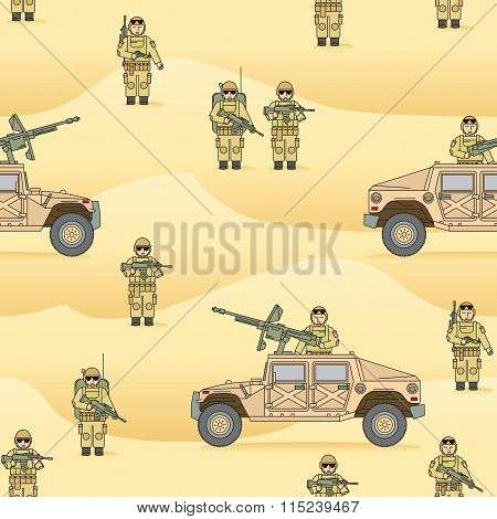 Pattern: the soldiers in the Sands. Operation Desert Storm.