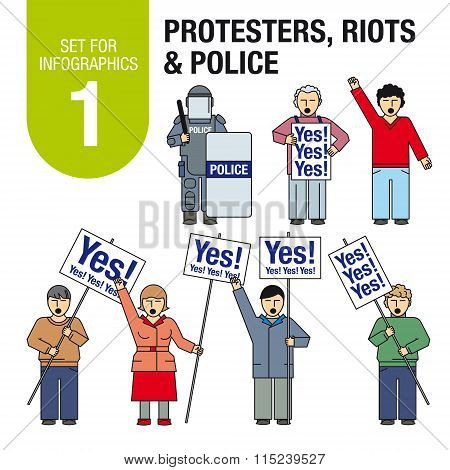 Collection of elements for illustrations and infographics. Protesters, riots, police.
