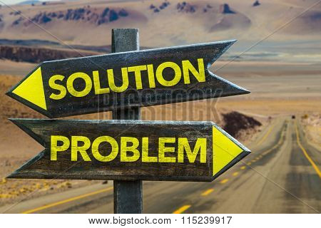 Solution - Problem signpost in a desert road on background