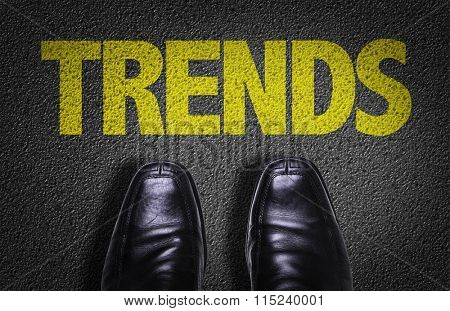 Top View of Business Shoes on the floor with the text: Trends