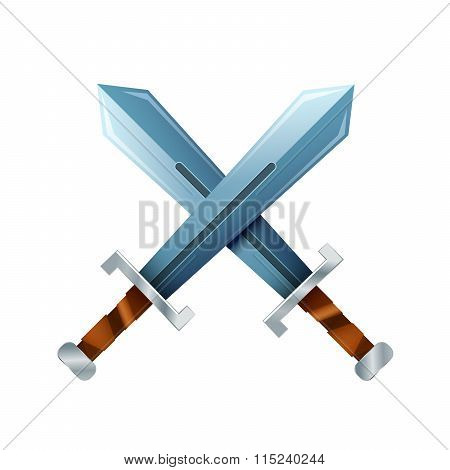 Crossed swords, cartoon icon on white