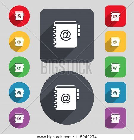 Notebook, Address, Phone Book Icon Sign. A Set Of 12 Colored Buttons And A Long Shadow. Flat