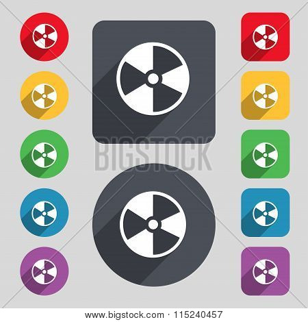 Radioactive Icon Sign. A Set Of 12 Colored Buttons And A Long Shadow. Flat Design.
