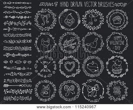 Love heart doodle brushes.Valentine,wedding wreath.Chalk