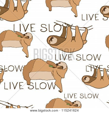 Seamless pattern with cute sloths and hand lettering