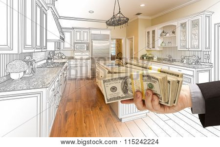 Hand Handing Stacks of Money Over Custom Kitchen Design Drawing and Photo Combination.