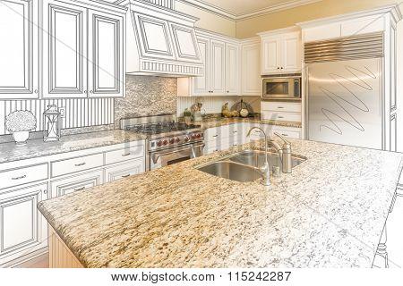 Beautiful Custom Kitchen Design Drawing and Gradated Photo Combination.