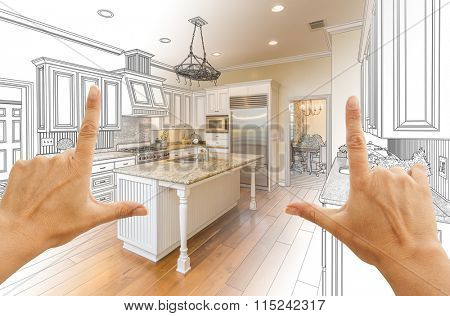 Female Hands Framing Gradated Custom Kitchen Design Drawing and Photo Combination.