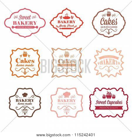 Collection Of Vintage Retro Bakery Labels